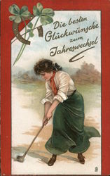 Woman Golfing, Horseshoe and Clover Postcard