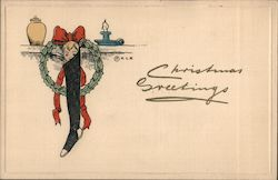Christmas Greetings - A Stocking Huge From the Mantle Postcard