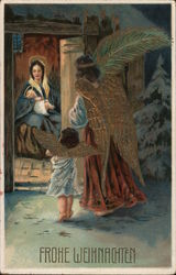 Two angels looking in on the Virgin Mary and Baby Jesus Postcard