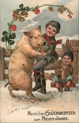 Children playing in the snow with a pig