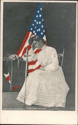 """Contemplation"" woman sitting with sword and garments. United States Flag behind her."