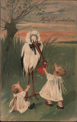 "Babies and stork: ""Hearty Congratulations Postcard"