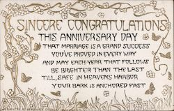 Sincere Congratulations This Anniversary Day Postcard