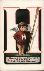 Harvard Cherub standing in front of a large H with a large stick.