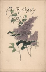 A Birthday Greeting Lilacs Postcard