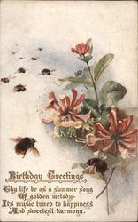 "Tuck's Oilette 9651 ""Gathering Honey"" - Bees, Flower Blossoms and a Birthday Poem Postcard"