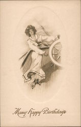 Many Happy Brithdays - Woman in Nautical Dress Steering a Ship Postcard
