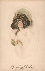 Many Happy Birthdays Woman Wearing Hat and White Fur Postcard