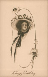 Face of Woman Wearing a Hat With Flowers A Happy Birthday Postcard