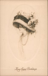 Many Happy Birthdays - Woman in Hat Postcard
