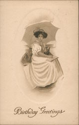 Woman Sitting with Umbrella and Book, Birthday Greetings Postcard