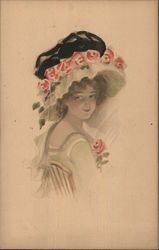 Portrait of a young woman with hat Postcard