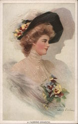 Woman in Black Hat and White Dress with Flowers