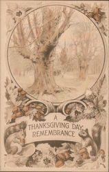 A Thanksgiving Day Remembrance Tree and Squirrels Postcard