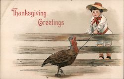 Thanksgiving Greetings, boy at fence with turkey on a leash