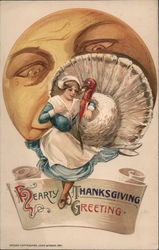 Hearty Thanksgiving Greeting Woman and Turkey in Front of Large Face Postcard