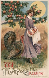 Woman Collecting Peaches, Turkey, Thanksgiving Greeting Postcard