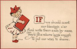 Girl in White Dress, Red Bow in Her hair, Holding a Big Red Book Postcard