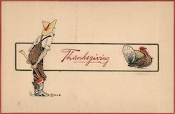 Thanksgiving - A mountain man with axe after a turkey