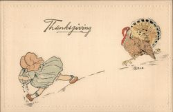 Thanksgiving - A Child with a Pie Plate Running Away from a Turkey