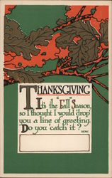 Thanksgiving - A Tree with Leaves Arts & Crafts Style Postcard