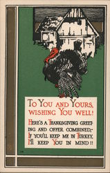To You and Yours, Wishing You Well! - Turkey in Front of House Postcard