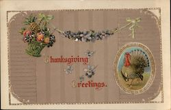 Thanksgiving Greetings - Turkey, Fruit Basket