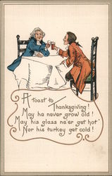 A toast to Thanksgiving - Two Men Toasting at a Table Postcard