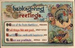 Thanksgiving Greetings - Turkey in Front of Flowers and Cornucopia of Fruit