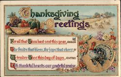 Thanksgiving Greetings - Turkey, Fruit