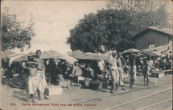 Native Refreshment Stalls near the Jetties Calcutta India