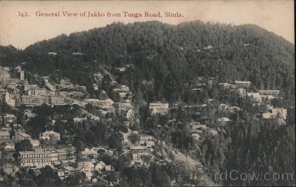 General view of Jakko from Tonga Road. Simla. India