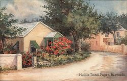 Middle Road. Paget. Bermuda Postcard