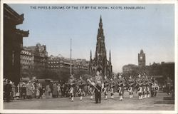 The pipes e-drums of the 1st Bth The Royal Scots, Edinburgh Postcard