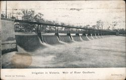 Irrigation in Victoria. Weir of River Goulburn. Postcard
