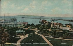 Royal Marine Gardens, Pavilion and Harbour, Kingstown. Postcard