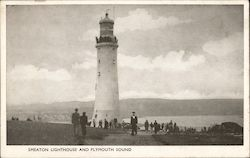 Smeaton lighthouse and Plymouth sound Postcard