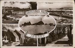 Greetings from Jersey. - St Aubins - The Harbour - St. Brelade's Church and Fisherman's Chapel - Vinchelez Lane - Corbiere rocks and lighthouse Postcard