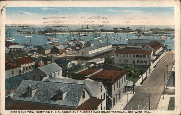 Bird's Eye View, Showing P.&O. Docks and Florida East Coast Terminal Key West