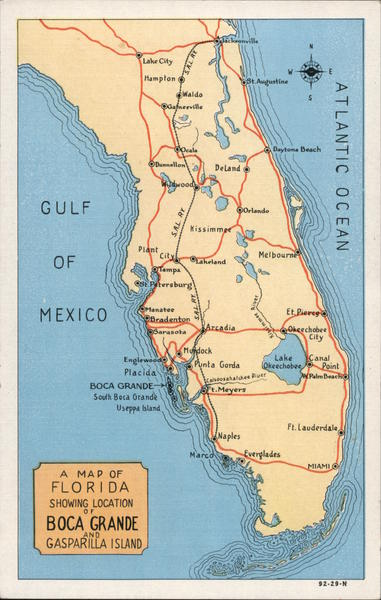 A Map of Florida Showing Boca Grande and Gasparilla Island