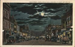 Main Street, North From Public Square, By Night Postcard