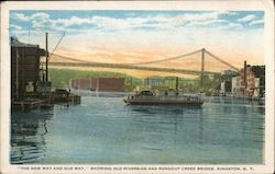 """The New Way and Old Way"" Showing Old Riverside and Rondout Creek Bridge Postcard"
