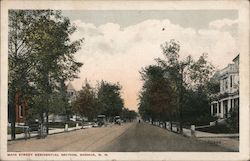 Main Street Residential Section Postcard
