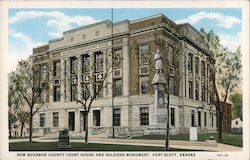 New Bourbon County Court House and Soldiers Monument Postcard