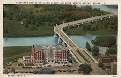 Aeroplane View of Hotel Van Curler and Great Western Gateway Bridge Postcard