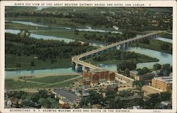 Bird's Eye View of the Great Western Gateway Bridge and hotel Van Curler Postcard