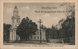 East Congregational Church and Park Entrance Postcard