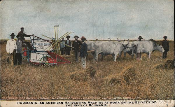 Roumania-An American Harvesting Machine at Work on the Estates of The King of Roumania. Romania