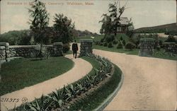 Entrance to Mt. Feake Cemetery Postcard