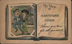 My View of Hartford Conn. Where you can get all you Want. Postcard